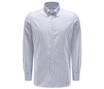 Oxfordhemd Button-Down-Kragen graublau/weiß
