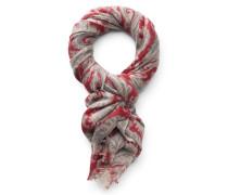 Cashmere Schal rot/grau