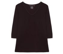 Shirt V Ausschnitt 3/4 Arm Aubergine