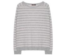 Kaschmir Pullover Streifen Grau Puder