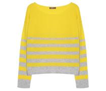 Kaschmir Pullover Streifen Mix Grau Gelb