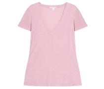 Baumwoll Shirt V-Ausschnitt Rose