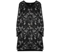120%Lino Seiden Kleid Muster Grau Schwarz