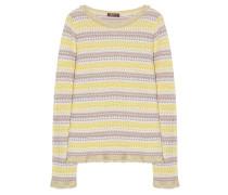 Pullover Musterstrick Gelb Beige