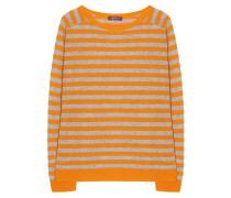 Kaschmir Pullover Streifen Grau Orange
