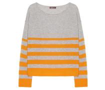 Kaschmir Pullover Streifen Mix Grau Orange