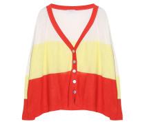 Leinen Cardigan Streifen Weiß Rot Gelb