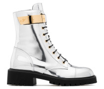 Mirrored silver patent leather boot with plated-metal HARVEY