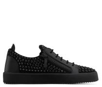Black suede low-top sneaker with crystals DORIS LOW