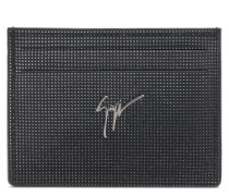 100x70 mm black calfskin cardholder with studs ALBERT