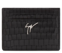 Black crocodile embossed cardholder ALBERT