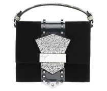 Black suede clutch crystals and plexi accessory ASTRID