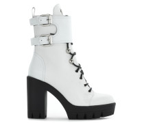 White nappa boot with leather inserts and buckles CAMILA