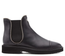 Black calfskin ankle boot with zips JAKY