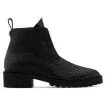 Black python-embossed calfskin leather boot JARROD