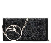 Black suede clutch with black crystals and metal logo BECKY CRYSTAL
