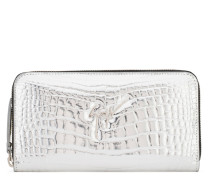 Silver crocodile-embossed calf leather wallet PAULA