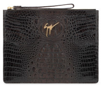 Crocodile-embossed leather pouch MARCEL