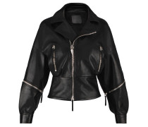 Women's black nappa leather jacket AUTUMN