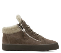 Beige suede mid-top sneaker with fur inside COLE