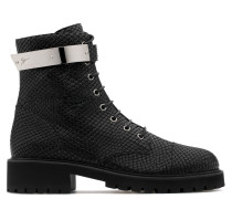 Black python-embossed calfskin leather boot HARVEY