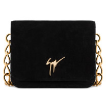 Black suede clutch with logo LISA