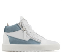 White calfskin leather mid-top sneaker with velvet inserts KRISS IRIDESCENT