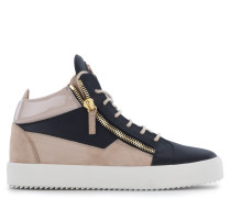 Black calfskin leather mid-top sneaker with beige inserts KRISS