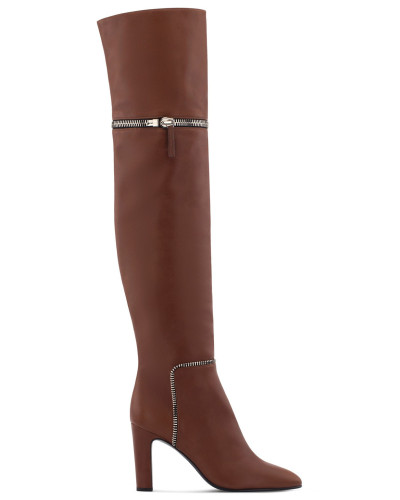 Brown calf leather cuissard boot with zips JOANA