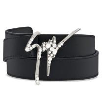 Leather belt with metal signature GIUSEPPE SPARKLE