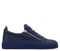 Blue leather low-top sneaker FRANKIE