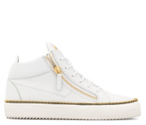 White leather mid-top sneaker with zip detail KRISS