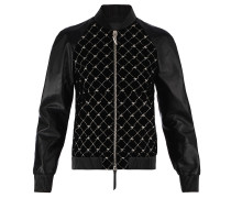 Women's black velvet and leather jacket with 'Logo' motif REGAL G