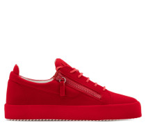 Red leather low-top sneaker with flocking patina THE UNFINISHED