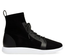 Black suede and calfskin leather high-top sneaker CESAR