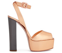 Mirrored rose gold leather clog BETTY