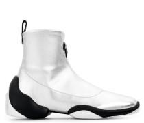 Silver laminated fabric high top sneaker LIGHT JUMP HT3