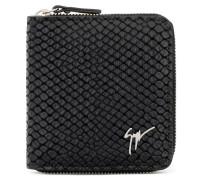 Black crocodile-embossed leather wallet TOM