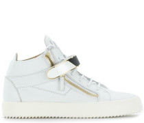 White leather mid-top sneaker with Velcro straps KRISS 1/2