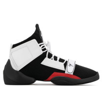 White stretch high-top sneaker with strap LIGHT JUMP MT1