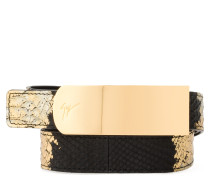 Black and gold python embossed calfskin belt LANE METALLIC