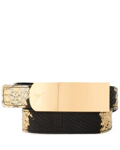 Black and gold python embossed calfskin belt LANE METALLIC