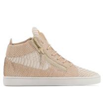 Beige python-embossed leather mid-top sneaker JAMIE HIGH