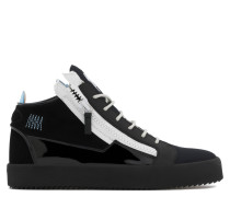 Black calf leather and suede mid-top sneaker with blue zips KRISS RENEW