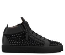 Black suede mid-top sneaker with black crystals DORIS