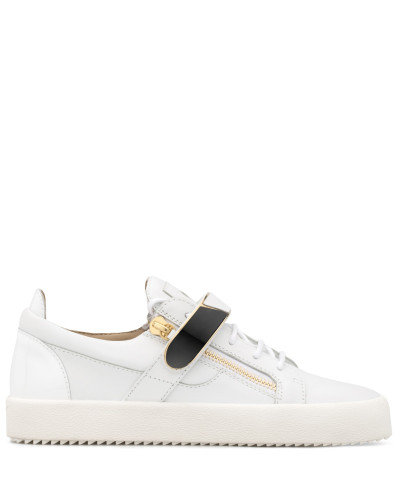 White leather low-top sneaker with metal bar FRANKIE 1/2