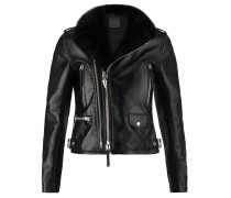 Black nappa jacket with metal zips and buckles AMELIA