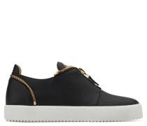 Black calfskin slip on sneaker THE REVEAL