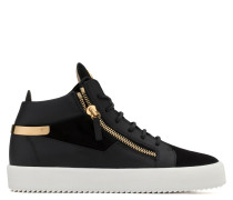 Black calf leather and black suede mid-top sneaker KRISS