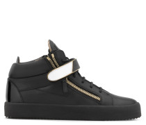 Black leather mid-top sneaker with metal bar KRISS 1/2